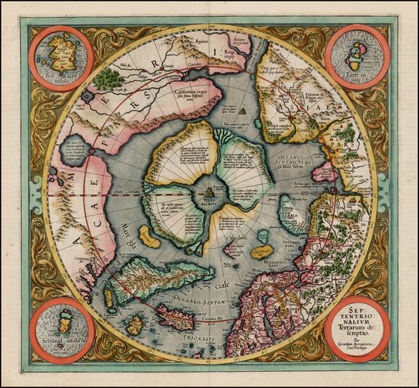 67-Northern Hemisphere, Polar Maps and Alaska Map By Gerard Mercator