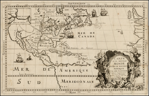 69-United States, Midwest and North America Map By Louis de Hennepin