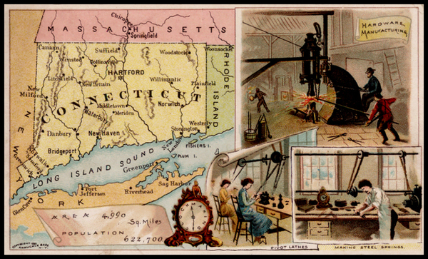 95-New England and Connecticut Map By Arbuckle Brothers Coffee Co.