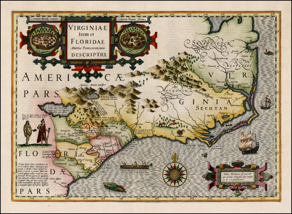 48-Mid-Atlantic and Southeast Map By Jodocus Hondius
