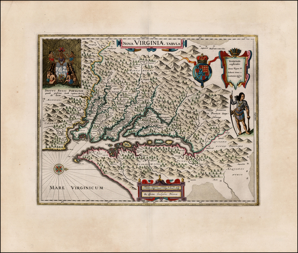 72-Mid-Atlantic and Southeast Map By Willem Janszoon Blaeu