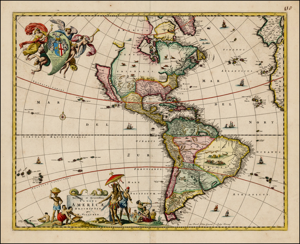 88-World, Western Hemisphere, South America and America Map By Nicolaes Visscher I