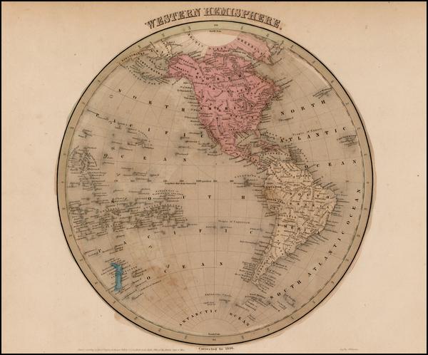 97-Western Hemisphere, South America and America Map By Thomas Gamaliel Bradford
