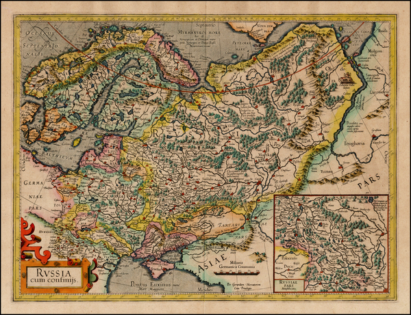 34-Russia, Baltic Countries, Balkans, Scandinavia and Russia in Asia Map By Gerard Mercator