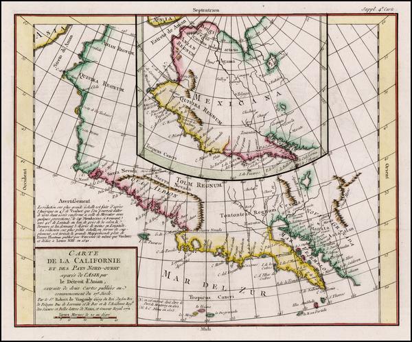14-Southwest, Alaska and California Map By Denis Diderot / Didier Robert de Vaugondy