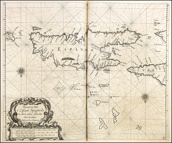72-Hispaniola Map By Arent Roggeveen / Johannes Loots