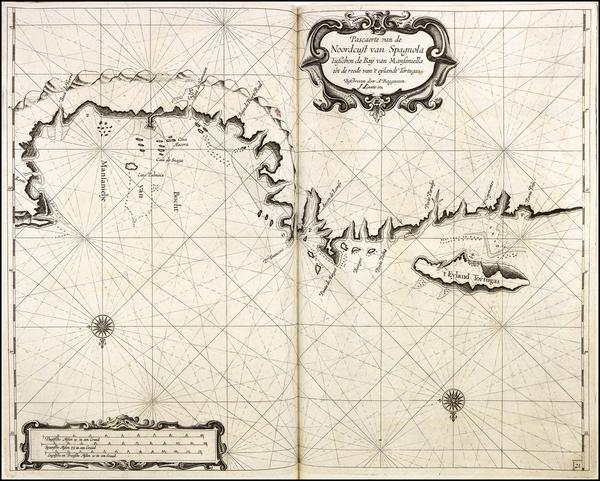 49-Hispaniola Map By Arent Roggeveen / Johannes Loots