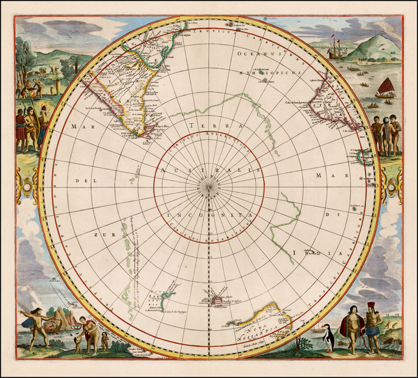 52-Polar Maps, South America, Pacific, Australia and New Zealand Map By Jan Jansson
