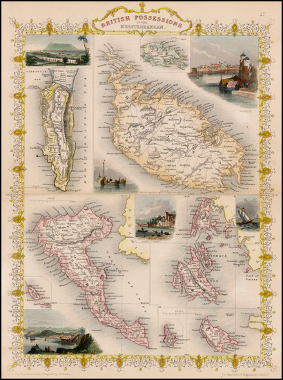 35-Greece, Mediterranean, Balearic Islands and Malta Map By John Tallis