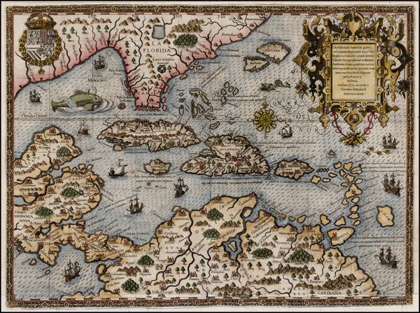 69-South, Southeast, Caribbean and South America Map By Theodor De Bry / Girolamo Benzoni