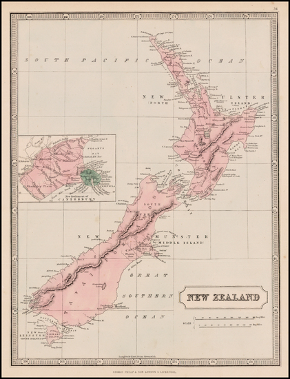 New Zealand Map By George Philip & Son
