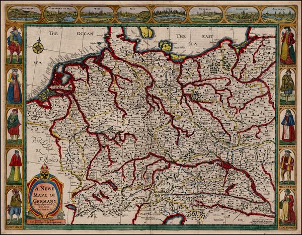 66-Switzerland, Germany, Austria, Poland and Czech Republic & Slovakia Map By John Speed
