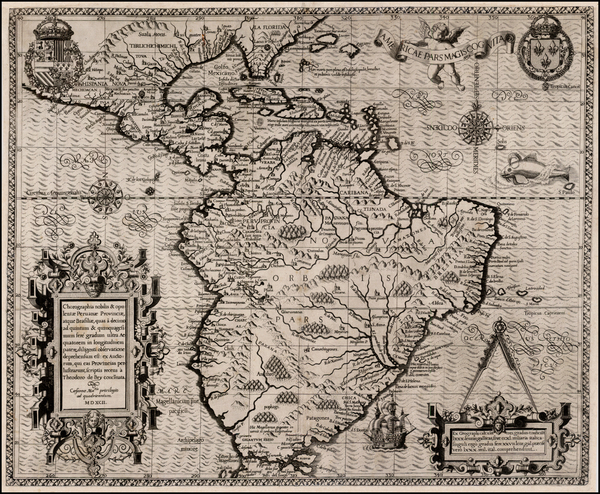 59-Caribbean, Central America and South America Map By Theodor De Bry