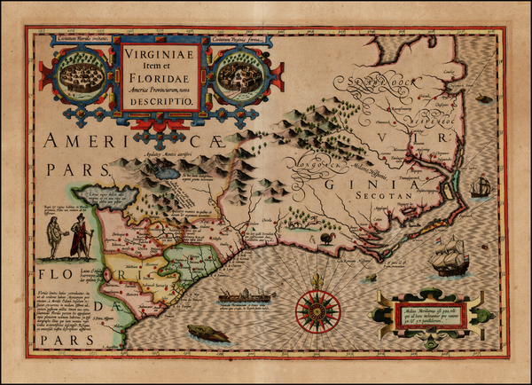 7-Mid-Atlantic and Southeast Map By Jodocus Hondius