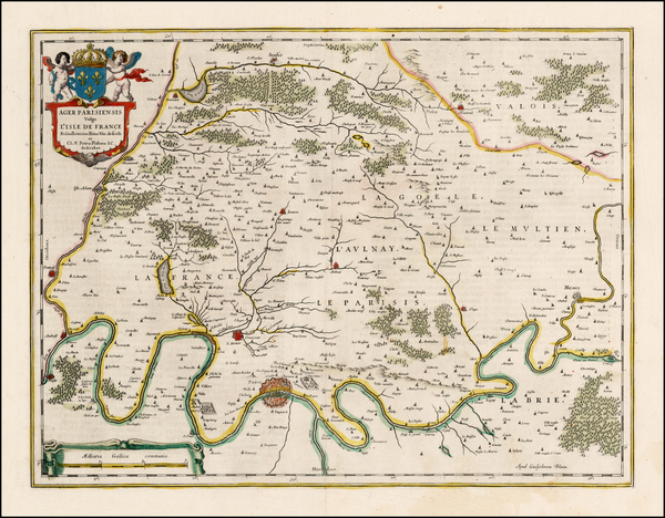 90-France and Paris Map By Willem Janszoon Blaeu