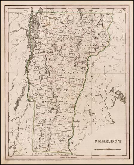 88-New England and Vermont Map By Thomas Gamaliel Bradford