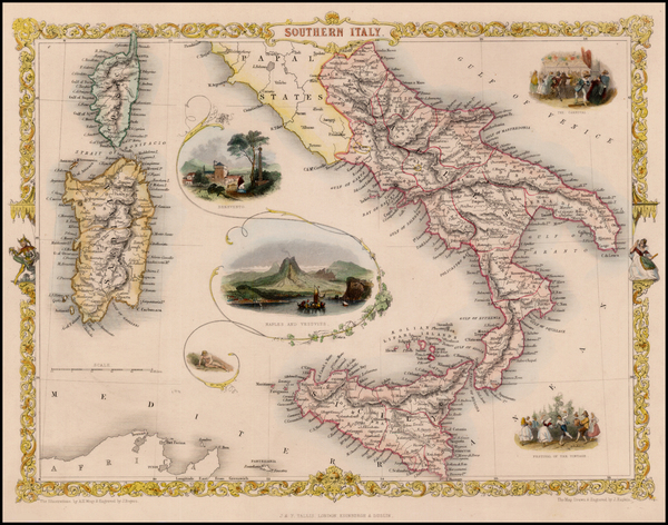 16-Italy and Balearic Islands Map By John Tallis