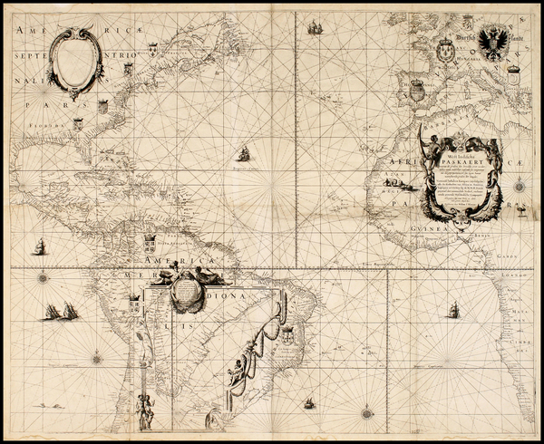 6-North America, Caribbean, South America, Africa, Africa and America Map By Willem Janszoon Blae