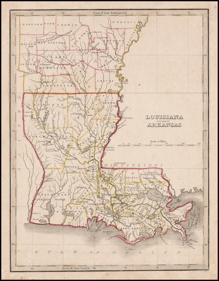 27-South and Louisiana Map By Thomas Gamaliel Bradford
