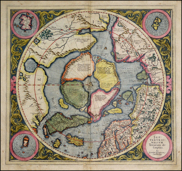 17-World, Polar Maps and Alaska Map By Gerard Mercator