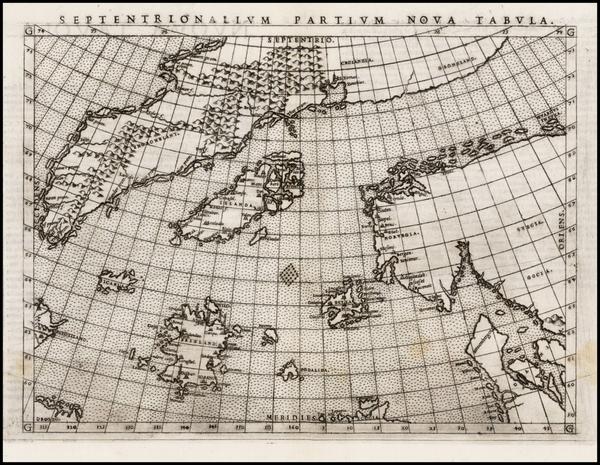 48-Polar Maps, Atlantic Ocean, Scandinavia and Balearic Islands Map By Girolamo Ruscelli