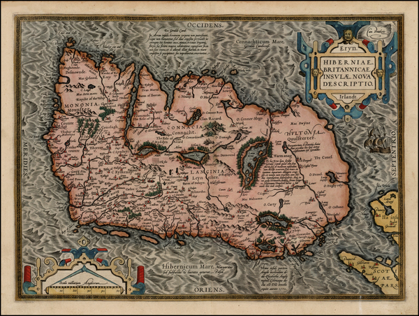 46-Ireland Map By Abraham Ortelius