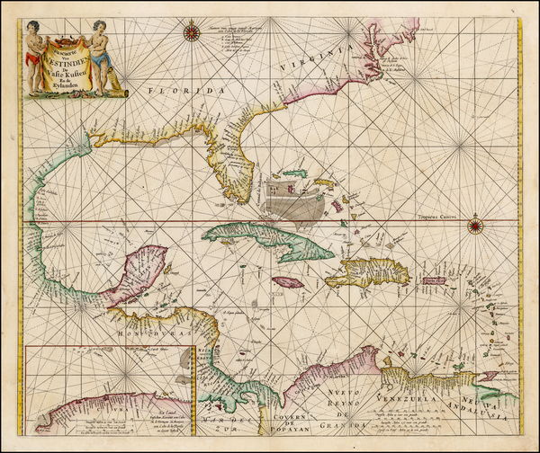 79-Florida, Southeast, Mexico and Caribbean Map By Pieter Goos