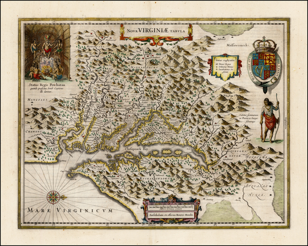 93-Mid-Atlantic and Southeast Map By Henricus Hondius