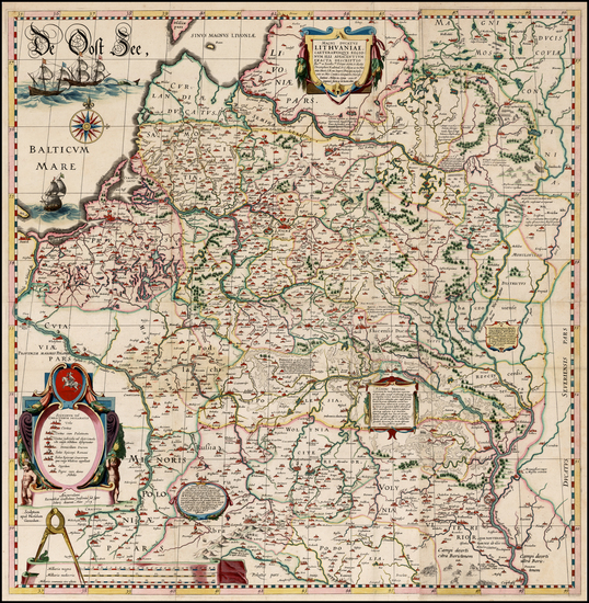 94-Poland, Russia, Ukraine and Baltic Countries Map By Willem Janszoon Blaeu / Hessel Gerritsz