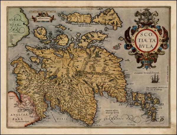 9-Scotland Map By Abraham Ortelius