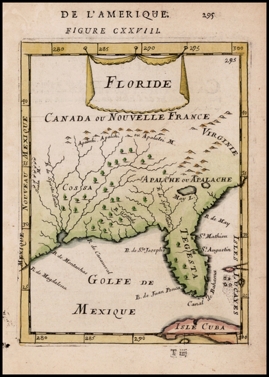 1-Florida and Southeast Map By Alain Manesson Mallet