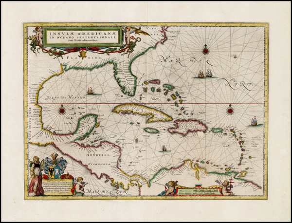 19-South, Southeast, Caribbean and Central America Map By Willem Janszoon Blaeu