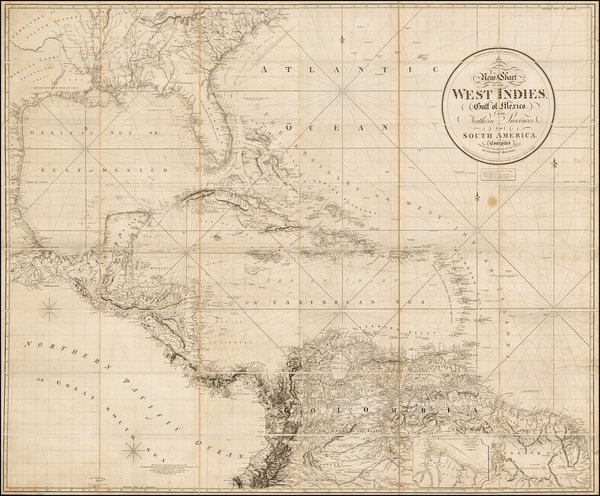 56-Florida, South, Southeast, Texas, Mexico, Caribbean and Central America Map By Richard Holmes L