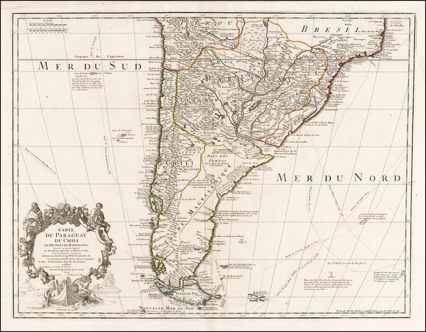 64-Argentina, Chile, Paraguay & Bolivia and Uruguay Map By Guillaume De L'Isle / Philippe Buac
