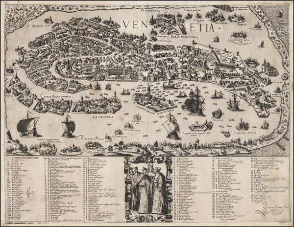 39-Italy and Venice Map By Giacomo Franco