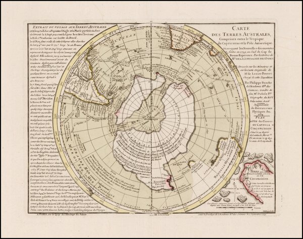 88-Southern Hemisphere, Polar Maps and New Zealand Map By Philippe Buache