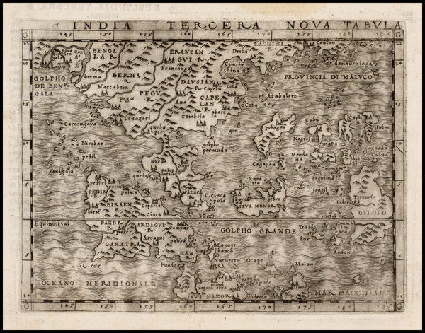 86-India, Southeast Asia, Philippines and Other Islands Map By Giacomo Gastaldi