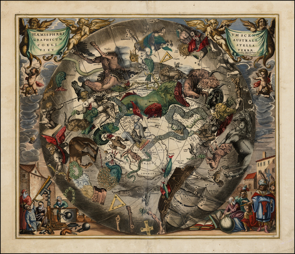 16-World, Eastern Hemisphere, Polar Maps, Curiosities and Celestial Maps Map By Andreas Cellarius