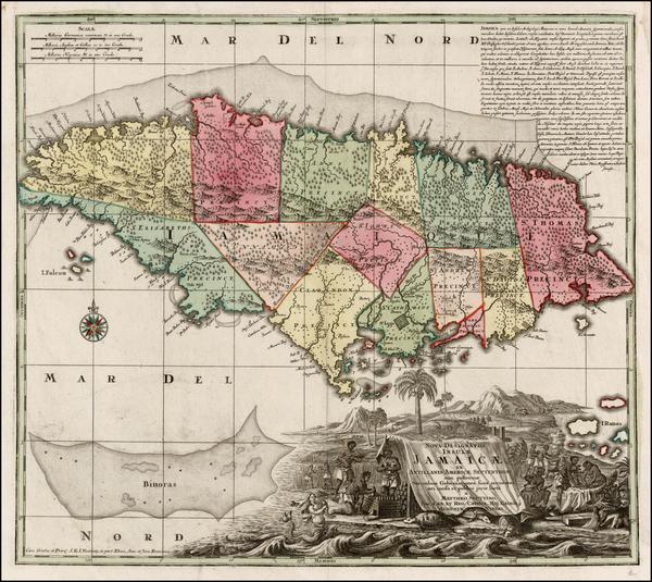 38-Caribbean and Jamaica Map By Matthaus Seutter