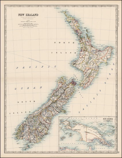 2-New Zealand Map By W. & A.K. Johnston