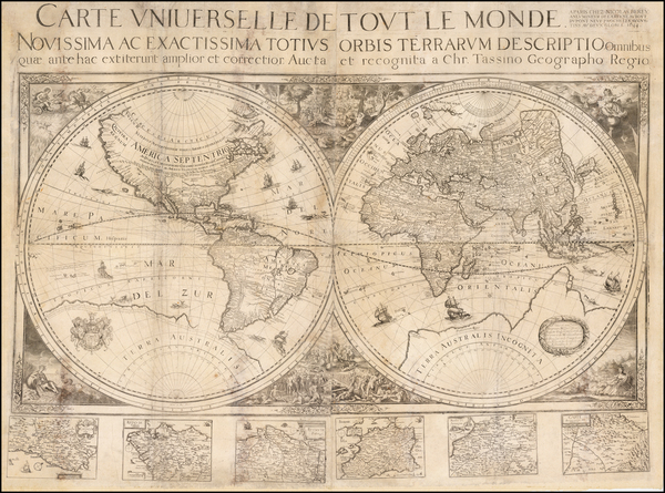 41-World, World, Southern Hemisphere and South America Map By Nicolas Berey / Christopher Tassin