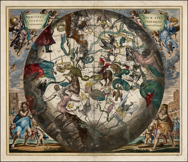24-Western Hemisphere, Southern Hemisphere, Curiosities and Celestial Maps Map By Andreas Cellariu