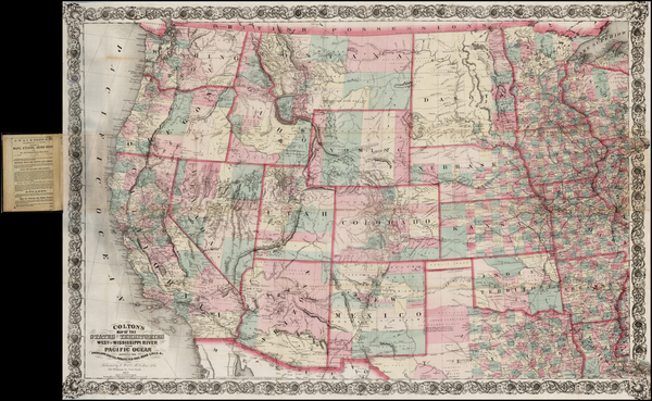 61-Plains, Southwest, Rocky Mountains and California Map By G.W.  & C.B. Colton