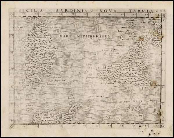 62-France, Italy and Balearic Islands Map By Giacomo Gastaldi