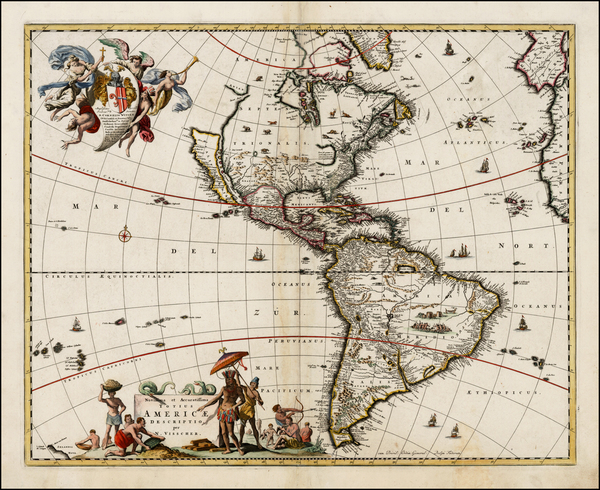 2-World, Western Hemisphere, South America and America Map By Nicolaes Visscher I