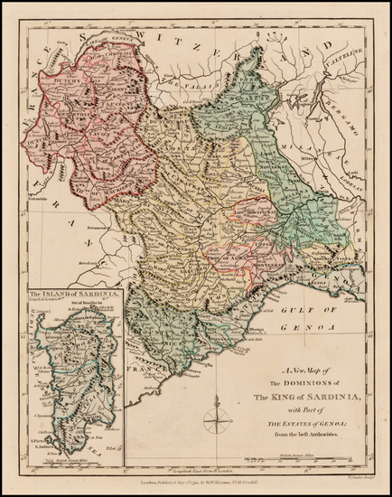 92-Italy and Sardinia Map By Robert Wilkinson