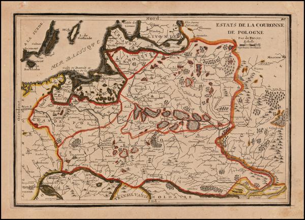 94-Poland, Russia, Ukraine and Baltic Countries Map By Nicolas de Fer