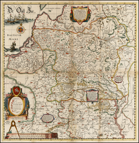 37-Poland, Russia, Ukraine and Baltic Countries Map By Willem Janszoon Blaeu / Hessel Gerritsz