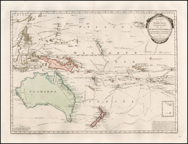 54-Australia & Oceania, Australia, Oceania, New Zealand and Other Pacific Islands Map By Franz