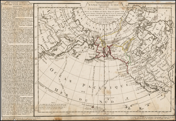 23-Alaska, China, Japan, Pacific, Russia in Asia and California Map By Philippe Buache / Jean-Clau